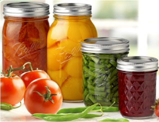 Canned produce in glass jars