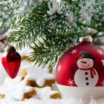 Red, round ornaments with snowmen