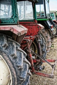 Three tractors with cabs