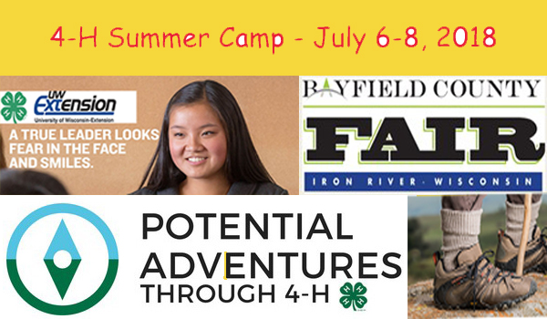Collage containing Potential Adventures logo, hiking shoes, Bayfield County Fair Logo,4-H Summer Camp dates and a 4-H creates leaders quote