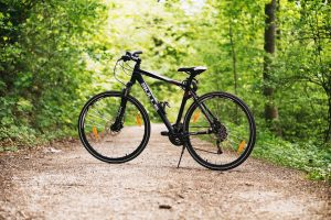 Bicycle on a dirt path in woods
