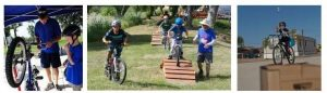 three pictures of a bike rodeo