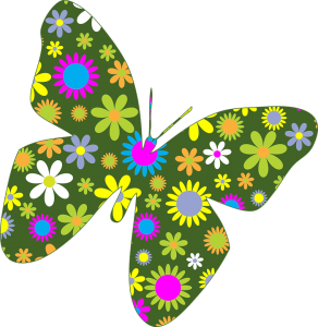 Butterfly shape filled with flowers
