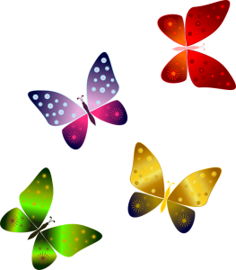 Four multi colored butterfly cartoons
