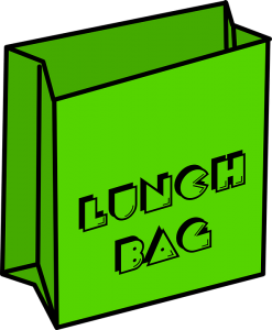 Green bag with Lunch Bag written on it