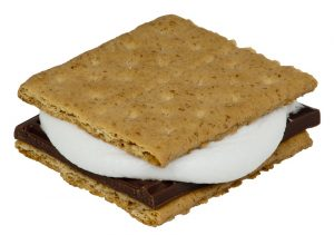 smores-marshmallow and chocolate between 2 graham crackers