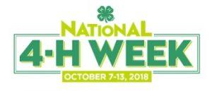 National 4-H Week October 7-13, 2018