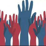 Red & Blue hands in the air