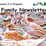 Bayfield County 4-H Program Family Newsletter with 4-H & Extension logo and frosty fall leaves