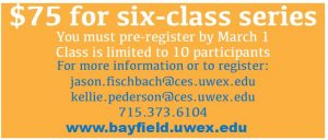 $75 for six-class series must pre-register by March 1