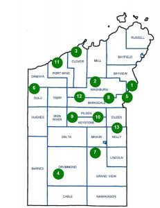 Bayfield County Townships with numbers indicating clubs