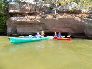 Kids canoeing on Lake Superior