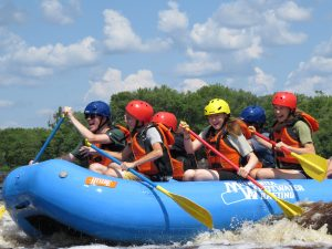 Kids white water rafting
