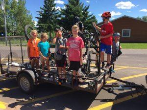 Kids getting ready to mountain bike