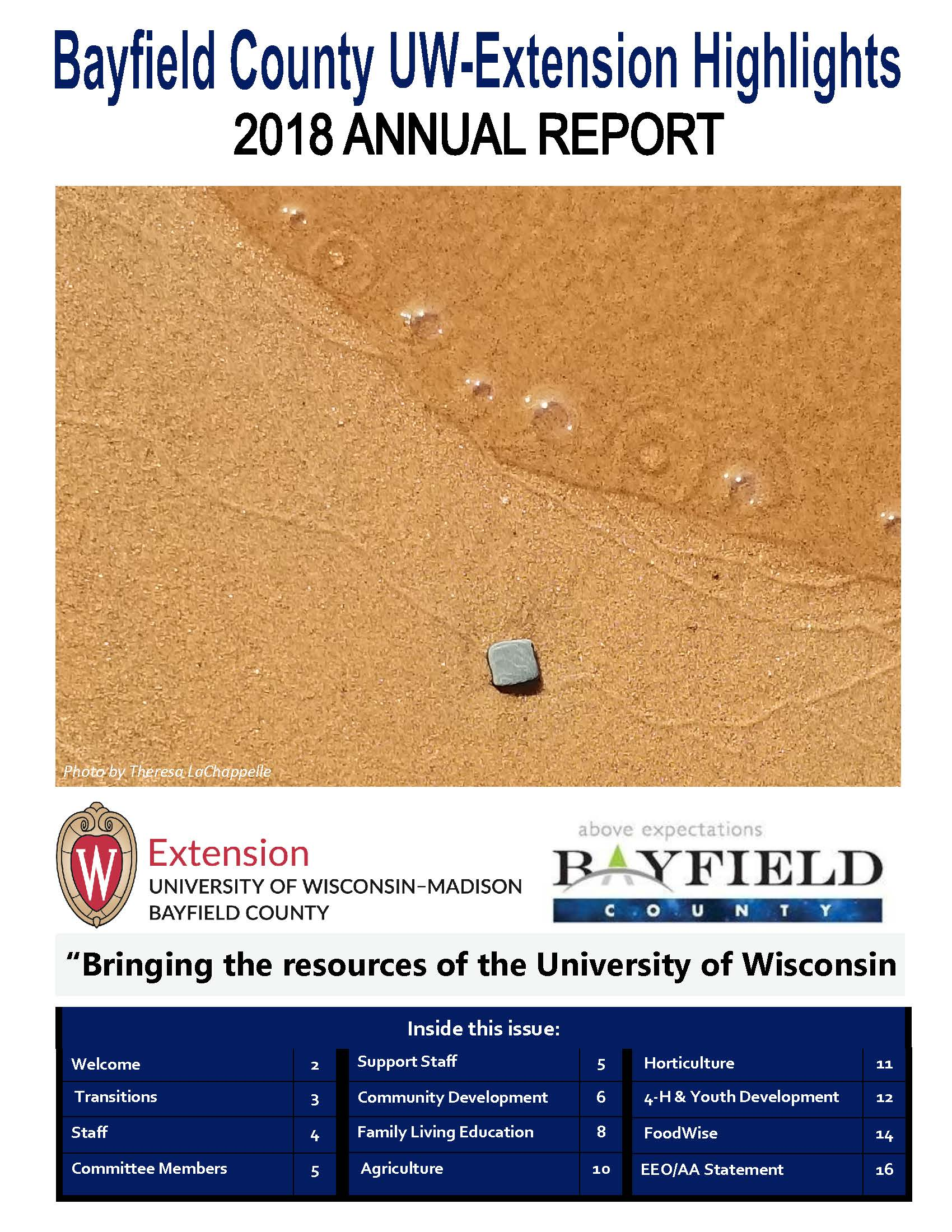 2018 Bayfield County Extension Highlights Annual Report Cover page-square rock on beach