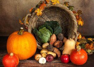 Orange Pumpkin, woven cornucopia basket with fall vegetables