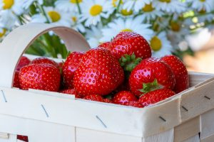 Red Strawberries in white basket