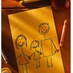 Crayon drawing of family
