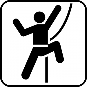 Icon rock climber with rope