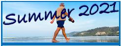 Summer 2021 man walking on beach